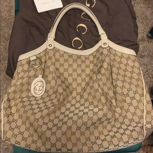 Authentic Gucci Sukey White GG Large Bag